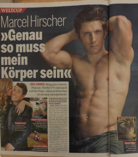 Schistar Marcel Hirscher als Sexobjekt. Nicht sexistisch? Freundin Laura gesteht im Interview, sie wäre gerne an seiner Stelle fotografiert worden.