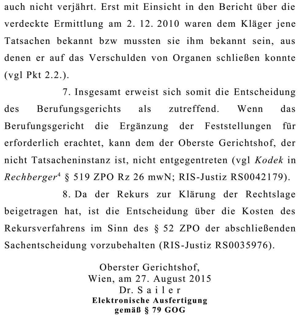 OGHBeschlussKlageSchaden13