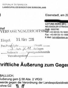 Verfassungsklage gegen polizeiliche Sperrzone Mensdorff-Pouilly: Antwort der Polizeidirektion