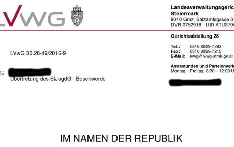 Landesverwaltungsgericht verurteilt Fasanjagdgesellschaft von Schloss Thal bei Graz