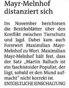 Max Mayr-Melnhof zahlt VGT € 480 und widerruft öffentlich seine Beleidigung